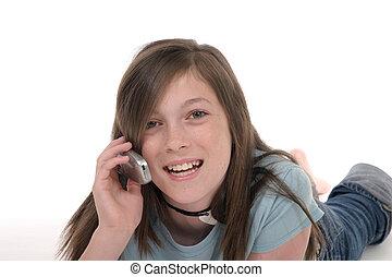 giovane, ragazza adolescente, parlare, su, cellphone, 10