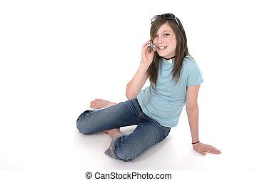 giovane, ragazza adolescente, parlare, su, cellphone, 2