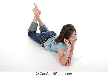 giovane, ragazza adolescente, parlare, su, cellphone, 5