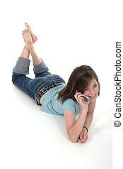 giovane, ragazza adolescente, parlare, su, cellphone, 6