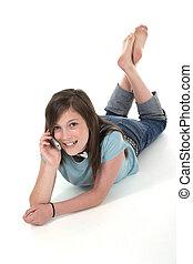 giovane, ragazza adolescente, parlare, su, cellphone, 8