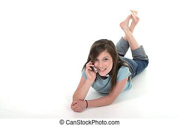 giovane, ragazza adolescente, parlare, su, cellphone, 9