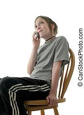 giovane, ragazza adolescente, parlare, su, cellphone