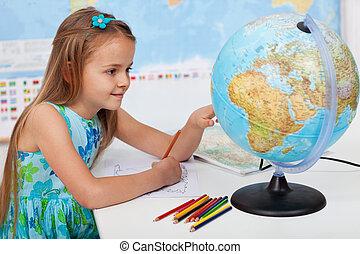 giovane ragazza, classe, geografia