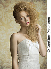 giovane ragazza, con, capelli ricci