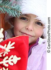 giovane ragazza, esterno, uno, inverno, cabina