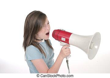 giovane ragazza, gridare, attraverso, megafono, 2