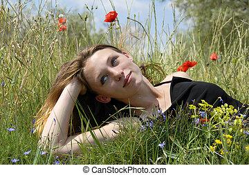 giovane ragazza, in, uno, campo