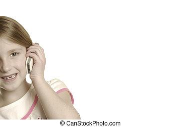 giovane ragazza, parlare, su, cellphone