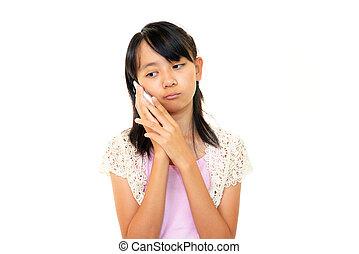 giovane ragazza, parlare, su, lei, cellphone