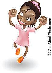 giovane ragazza, saltando gioia