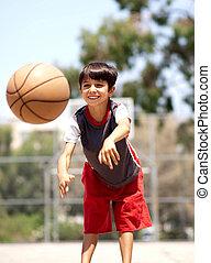 giovane ragazzo, passeggero, pallacanestro