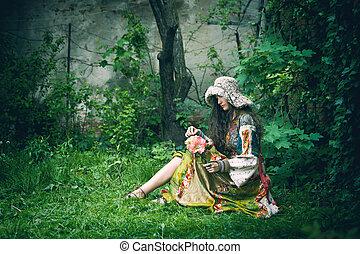 giovane, romantico, giardino