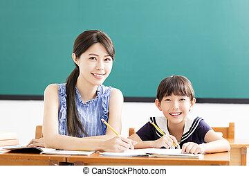 giovane, scrittura, porzione, bambino, lezione, insegnante