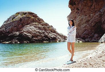 giovane, sexy, donna, spiaggia