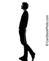 giovane, silhouette, camminare
