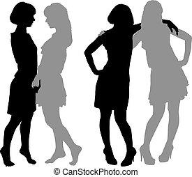 giovane, silhouette, due donne