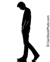 giovane, silhouette, triste, camminare
