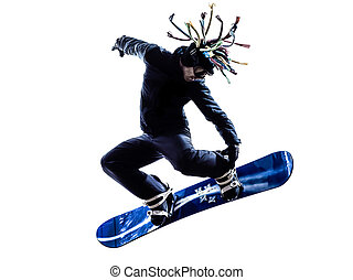giovane, snowboarder, uomo, silhouette