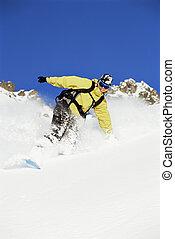 giovane, snowboarding