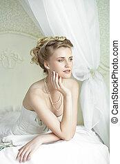 giovane, sposa, con, bello, matrimonio, acconciatura