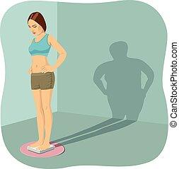 giovane, standing, su, scala stanza bagno, con, lei, uggia, mostra, lei, distorto, immagine corpo