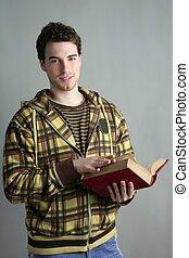 giovane, studente, ragazzo, con, libro aperto, in, mani
