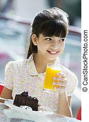 giovane, succo, arancia, ragazza, caffè, bere