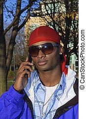 giovane, telefono cellulare, americano, uomo africano
