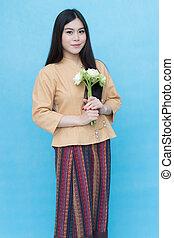 giovane, tradizionale, asiatico, ritratto, ragazza, vestire, tailandese