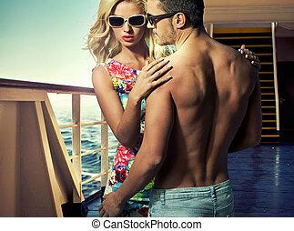 giovane, traghetto, coppia, attraente