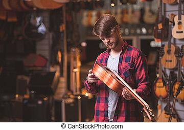 giovane, ukulele, uomo