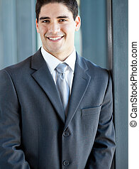 giovane, uomo affari, closeup, ritratto
