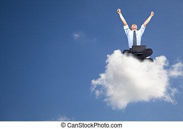 giovane, uomo affari, con, computer, seduta, su, il, nuvola