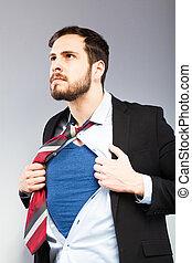 giovane, uomo affari, recitazione, come, uno, eroe super