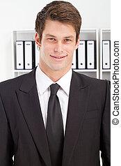 giovane, uomo affari, ritratto