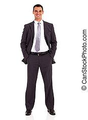 giovane, uomo affari, studio, ritratto