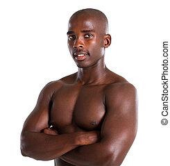 giovane, uomo africano, americano