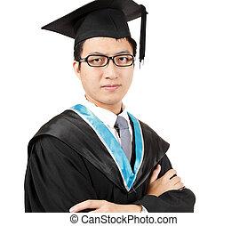giovane, uomo asiatico, graduazione
