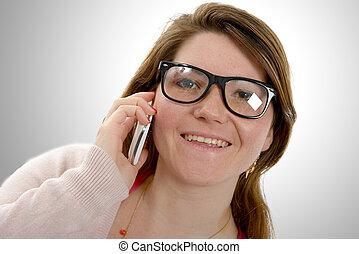 giovane, usando, donna, attraente, telefono