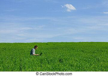 giovane, usando, uno, laptop, fuori