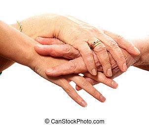 giovane vecchio, mani