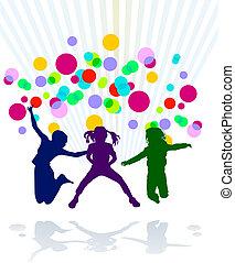 giovani bambini, celebrare, un, pari