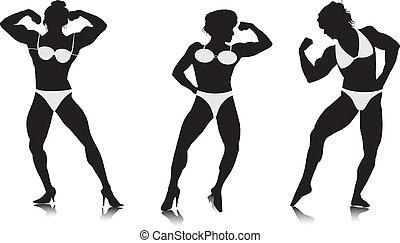 giovani donne, culturista, silhouette