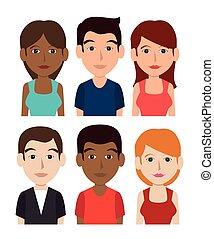 giovani persone, cartone animato, tema