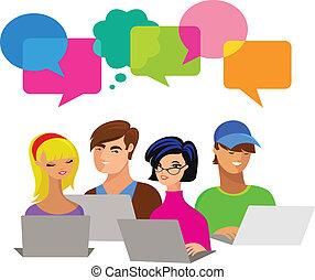 giovani persone, con, discorso, bolle, e, computer