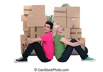 giovani persone, e, scatole cartone