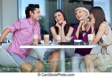 giovani persone, godere, interruzione pranzo
