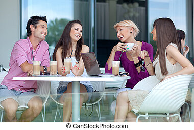 giovani persone, godere, pausa caffè