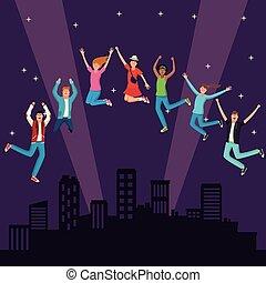 giovani persone, saltare, a, città, notte